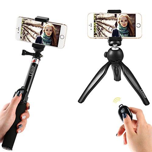 LESHP Selfie Stick Monopie Mini Trípode con Bluetooth control remoto para GoPro cámara Smartphone IOS y Android, negro