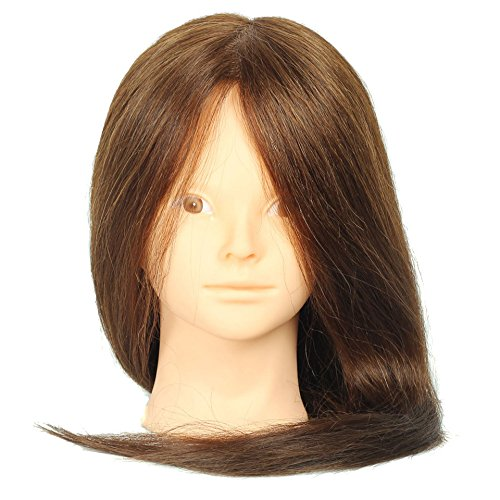 Royalvirgin 45,7 cm Marron Tête de mannequin 85% cheveux naturels Tête de coiffer professionnel pour coiffeur Tête d'entraînement pour Pratiquer Maquillage Manequim