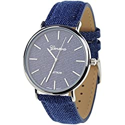 Unisex Geneva Japanese Movement Silver-Tone Dark Denim Covered Faux Leather Strap Watch