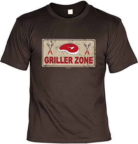 Griller T-Shirt - GRILLER ZONE - FunHemd für BBQ und Grillen Braun