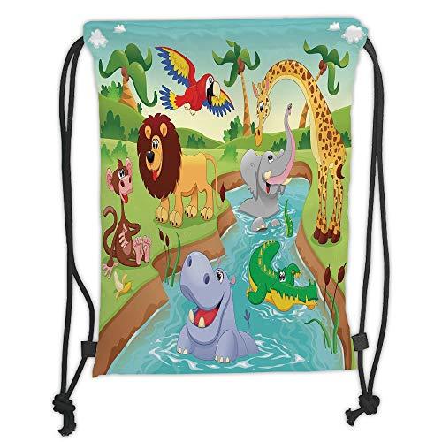Fashion Printed Drawstring Backpacks Bags,Kids Decor,Cartoon Safari African Animals Swimming in the Lake Elephant Lions And Giraffe Art,Multi Soft Satin,5 Liter Capacity,Adjustable String Closure, - Safari Room Decor