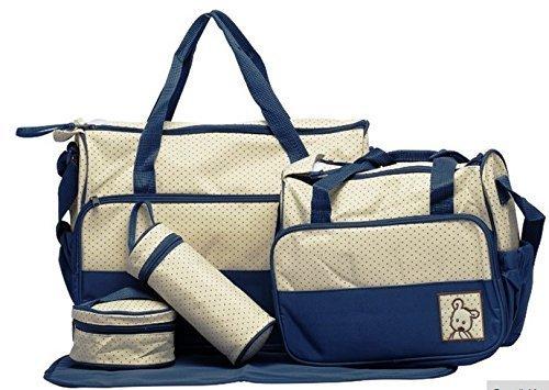 Baby Bucket 5pcs/set Baby Diaper Bag Nappy Mummy Bag Print Maternity Handbag Changing Baby Messenger Bag (Navy)
