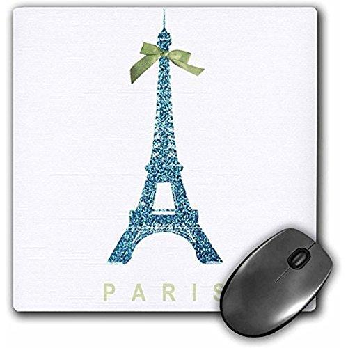 fongakde 9x 7x 0,25blau Eiffelturm mit Grün Girly Schleife PRETTY Elegant Frankreich Souvenir Glam Travel Fashion Maus Pad (MP _ 112909_ 1)