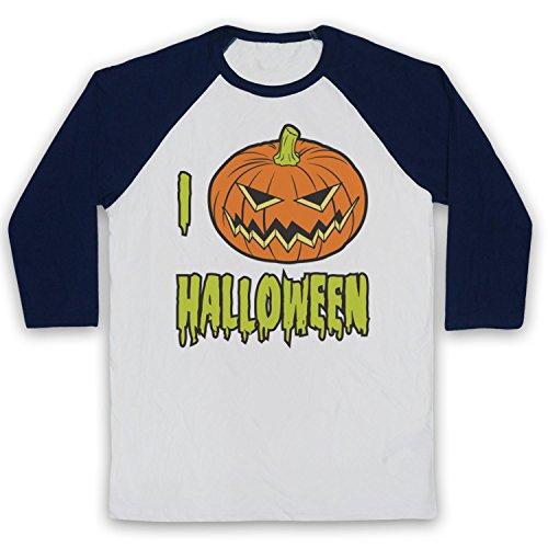 My Icon Art & Clothing I Love Halloween Pumpkin 3/4 Hulse Retro Baseball T-Shirt, Weiß & Ultramarinblau, 2XL