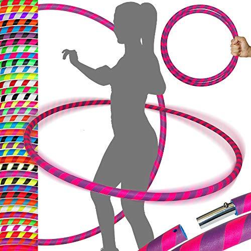 PRO Hula Hoops Reifen für Anfänger und Profis (Ultra-Grip) Faltbarer TRAVEL Hula Hoop ideal für Hoop Dance, Fitness Training, Zirkus, Festivals & Fun! - Größe 100cm/25mm∅, Gewicht 650g (Lila / Rosa)