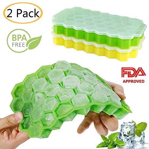 2 Pack Eiswürfelbehälter mit Deckel, Lebensmittelqualität Silikagel flexibel und BPA frei, 37 Eiswürfel jeweils, Eiswürfelform Whiskey, Kaffee, Fruchtsaft Cocktails -Grün / Gelb