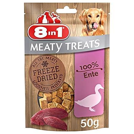 8in1 Meaty Treats, gefriergetrocknete Hunde Leckerlis, getreidefrei und ohne Zucker (1 Beutel, 50 g)