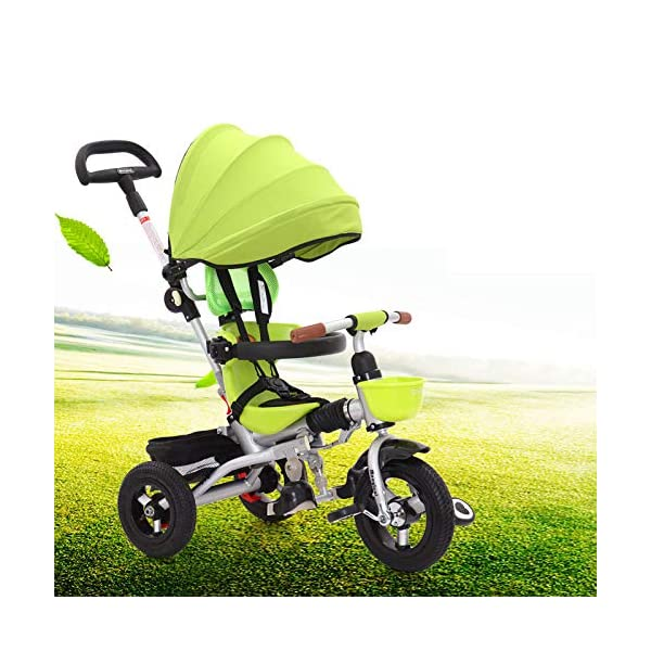 Childrens Tricycles 12 Months To 6 Years Compact Childrens Folding Tricycle Detachable And Adjustable Push Handle Folding Sun Canopy Blockable Rear Wheels Kids Tricycle Maximum Weight 25 Kg,Green BGHKFF ★Material: Aluminum frame, suitable for children from 1 to 6 years old, maximum weight 25 kg ★Safety design: 3-point seat belt + guardrail, front wheel clutch, safer on the way, rear wheel brake, lock rear wheel ★ Scientific design features: adjustable foot pedals, rear storage baskets, safety seats, detachable and adjustable parental handlebars, folding and detachable covers to protect children from UV damage 1