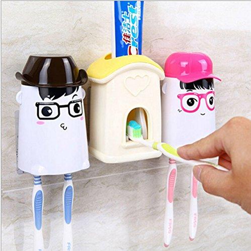 JJPUNK Badezimmer Kinder Cartoon Wand Automatische Zahnpasta Spender Einfach Squeezer 2 Zahnbürstenhalter