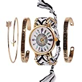 Beauty7 Noir 4pcs Kits de Bracelet avec Mots Montre Quartz Cadran Motif Plume Boho Bracelet Bande de Corde Bresilien Ajustable Tisse Avec Chaine Doree Hippie Boheme