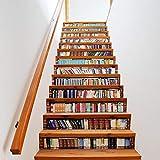 LIZPWQ Treppe Aufkleber 13 Stücke 3D Bücherregal Treppe Aufkleber DIY Schritte Aufkleber Wandtattoo Tapete Removable Decals for Wohnkultur