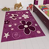 VIMODA Kinder Teppich Modern Blumen Sterne Farbe Lila Maße: 80x150 cm
