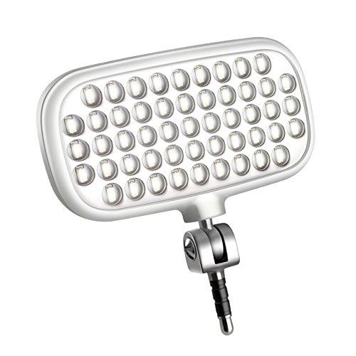 Metz mecalight LED-72 smart in Weiß | LED-Videolicht für Smartphones & Tablets mit 51 LEDs und 72 LUX, eigenen Lithium-Polymer-Akku, 3 Modi, für Fotos oder Videos geeignet etc