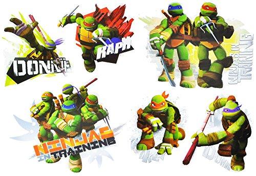 (6 tlg. Set 3-D ! Wandtattoo / Fensterbild - Teenage Mutant Ninja Turtle - Hero - Folie selbstklebend - beschichtet und wasserabweisend - Wandsticker Sticker Aufkleber - wasserfest z.B. für Bad / Badezimmer - Leonardo Donatello Raphael Michelangelo - Schildkröten)