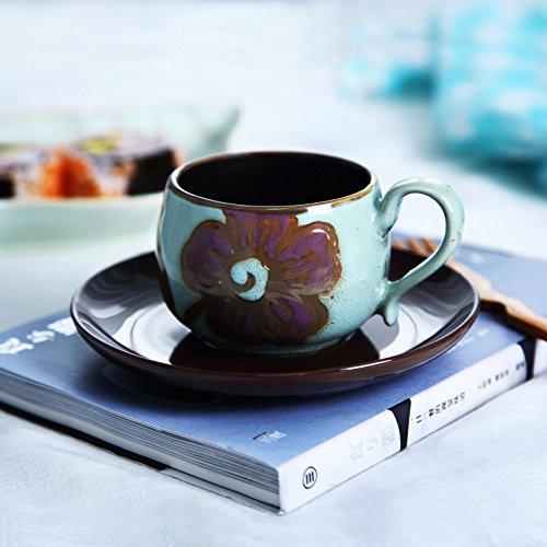 SSBY Mettre de fleur céramique tasse et soucoupe, tasse à café peints à la main, tasse créatif