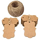 100 PCS Blank Kraft Gift Tags 2.75''x 1.97'' Paper Hang Tags with 100 Feet Jute Twine (Brown)