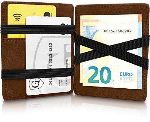 GenTo® Magic Wallet Vegas - TÜV geprüfter RFID, NFC Schutz - Dünne Geldbörse mit Münzfach - Geschenk für Damen und Herren mit Geschenkbox - erhältlich in 6 Farben | Design Germany (Dunkelbraun Soft)