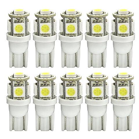 5-SMD W5W T10 Ampoule LED blanche 5050 501 194 Lampe de bord Ampoule 168 2825 Ampoule Wedge Éclairage latéral haute puissance Indicateur de plaque d'immatriculation Super Bright