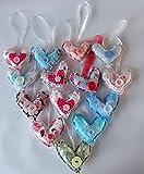 Cuoricini di stoffa con nastrino, realizzati a mano, piccoli, disponibili in diversi colori