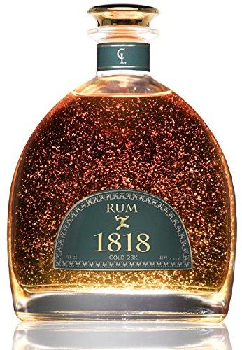 Rum Premium 1818 - Dominikanische Republik - 23-Karat-Goldfolie - Luxus Geschenk - 200 Jahrestag - Limited Edition - Ron Añejo XO Reserva - Traditionell Hergestellter Dominikanischem Zuckerrohr Rum