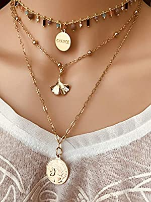 Collier médaille antique, Collier ginkgo doré, médaille chance, Collier bohème, Cadeau pour elle, collier multi-rangs