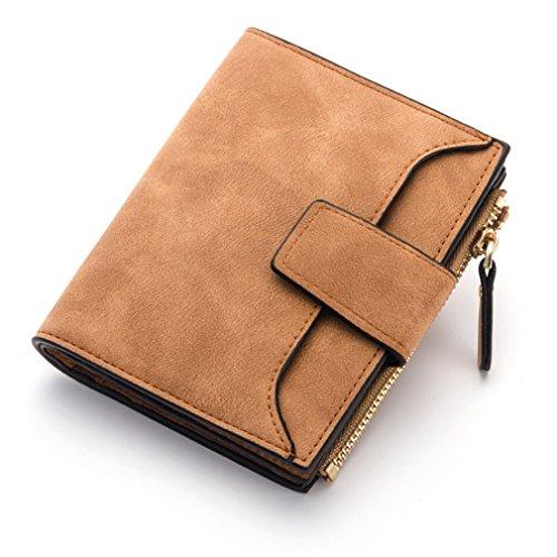 Frauen Mode Weibliche Geldbörse Große Kapazität Münzfach Kreditkarteninhaber Ziper Wallet Brown ()