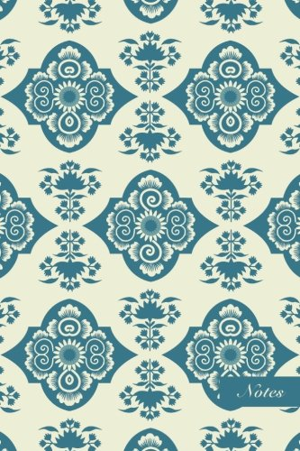 "Notes: 6""x9"" Unruled Blank Notebook Chinese Style Elegant Light Blue Curve Spiral Garden Flower Seamless Pattern Cover. Matte Softcover Note Book Journal"