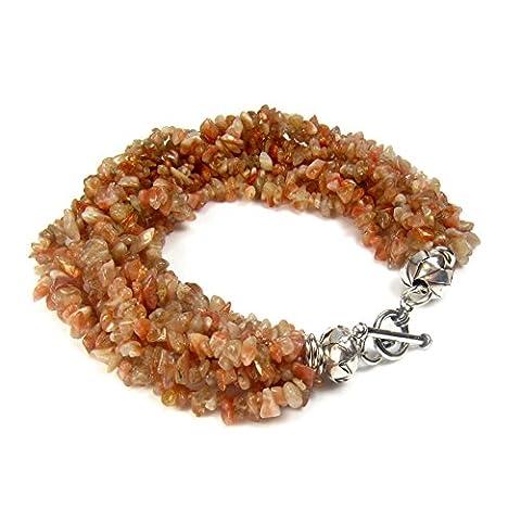 Rose-Bracelet Femme-Argent 925/1000–pierre de gemme Multi-brins à 19 cm de Papier cadeau Diosa Jewellery