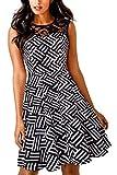 HOMEYEE Damen Elegant Spitze Rundhalsausschnitt Ärmel Mesh-A-Linie Kleid UKA008 (EU 44 (Herstellergroesse: XXL), Geom)
