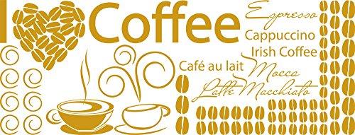 GRAZDesign 770152_57_820 Wandtattoo Küche I Love Coffee mit Kaffee-Bohnen | Wanddeko für Esszimmer | beliebiges Platzieren an die Wand (150x57cm//820 Mustard) -