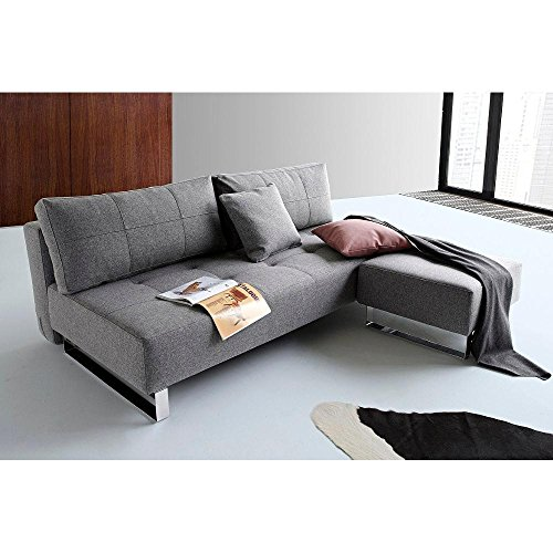 INNOVATION LIVING Design Sofa Schlafsofa Supremax Deluxe Excess Lounger grau Twist Charcoal Convertible Bett 155 * 200 cm