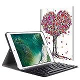 Fintie Bluetooth Tastatur Hülle für iPad 9.7 Zoll 2018 2017 / iPad Air 2 / iPad Air - Ultradünn leicht Ständer Keyboard Case mit magnetisch Abnehmbarer drahtloser Deutscher Tastatur, Herbst Liebe
