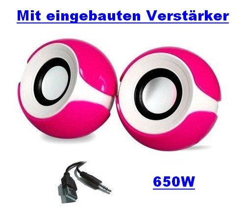 650W Pink / Rosa * Qualität * USB 2.0 Externe Multimedia Mini Lautsprecher mit Verstärker, Boxen für PC Laptop Notebook Computer für PC / Laptop / Notebook / CD / DVD / ipod / ipad / iPhone / Galaxy / MP3 / MP4 (Lebenslang Garantie)