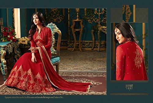 ETHNIC EMPORIUM Damen Red Bollywood Designer Braut Anarkali Shalwar Kameez Muslim Hochzeit Eid Festliche Klage-Kleid 2844 43481 Wie gezeigt -