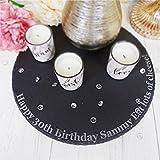 Gravur personalisierbar, rund, natur Käsebrett aus Schiefer Tisch Mitte Geburtstag Geschenk