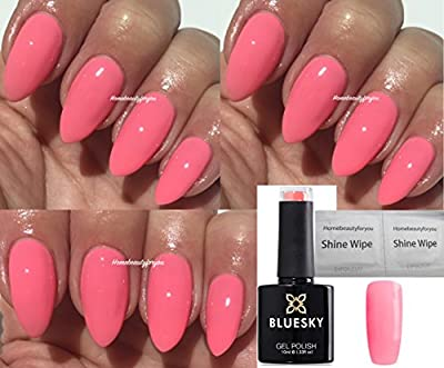 Bluesky Pink Lemonade Limited Special Edition Nail Gel Polish UV LED Soak Off 10ml PLUS 2 Homebeautyforyou Shine Wipes