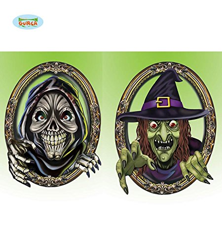 2 Stück WANDDEKO - Tod & Hexe - 35 cm, Sortiert, Halloween Deko Raumdeko Hexentanz Sensenmann Friedhof Horror Poster Schilder Bilder