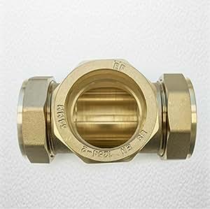 54 mm, in ottone, con raccordi TEE uguale, a compressione, in ottone, sistema metrico)