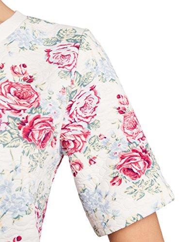 oodji Collection Damen Sweatshirt mit Kurzen Ärmeln Mehrfarbig (1247F)