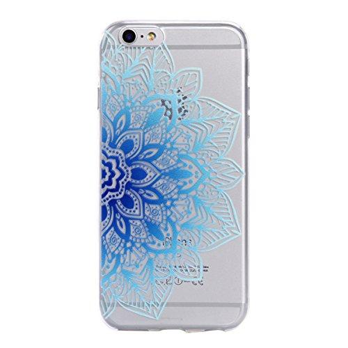 iPhone 6/6S Hülle, E-Lush TPU Soft Silikon Tasche Transparent Schale Clear Klar Hanytasche für Apple iPhone 6/6S (4.7 Zoll) Durchsichtig Rückschale Ultra Slim Thin Dünne Schutzhülle Weiche Flexibel Ha Blaue Blume