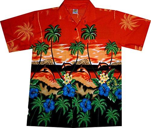 """Hemd """"Dolphin's Island (Orange)""""/Größe S – 6XL/Orange/mit Brusttasche/Delfinen Insel/100% Terivoile (Insel Kostüme)"""