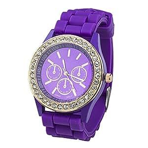 Fashion Silicone Golden Crystal Stone Quartz Ladies Jelly Wrist Watch Purple