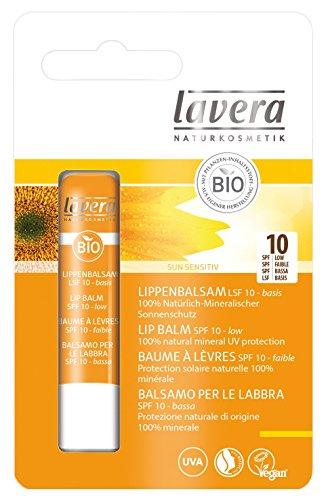 lavera Sun Lippenbalsam LSF 10 UV Schutz ∙ Mineralischer Lichtschutz ∙ Wasserfest ∙ Schützt sofort ∙ vegan ✔ Bio Pflanzenwirkstoffe ✔ Naturkosmetik ✔ Natural & innovative ✔ Sonnenschutz 1er Pack (1 x 5 g)