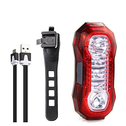 Fanalino a LED per bici, IPX4, 5 Modalità di illuminazione, Ricaricabile USB, Facile da montare