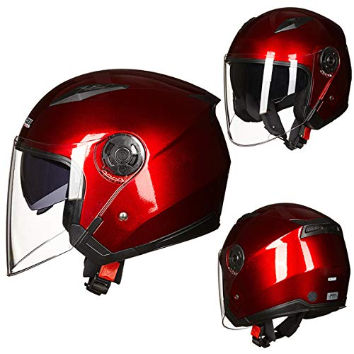 MENUDOWN Motorrad Helme Elektrische Fahrrad Helm Open Gesicht Dual Objektiv Visiere Männer Frauen Sommer Roller Motorrad Moto Bike Helm,Red-M(54~55cm)