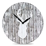 Wanduhr aus Holz mit Hirsch-Motiv in Grau - 28cm rund - Jäger Skandinavien Natur Uhr Holzuhr Zeitanzeige