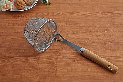 Tenta Kitchen Premium 18/8 Stainless Steel Mesh Spider Spaghetti Dumpling Noodle Strainer -4.3 diameter inch Basket and 8.4 inch Wooden