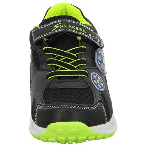 Sneakers J518A Jungen Klettverschluss/Slipper Halbschuh sportlicher Boden Schwarz (Schwarz)