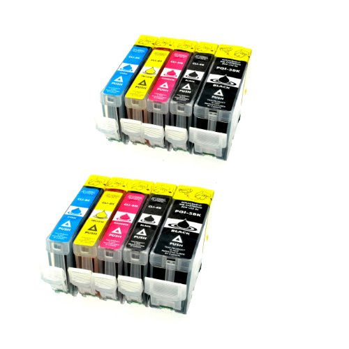 Preisvergleich Produktbild 10 Tintenpatronen für Canon IP 4200 mit Chip - 2x bk 28 ml + je 2x bk/c/m/y 14 ml, kompatible Patronen