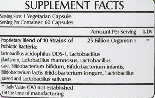 Amazing Flora Probiotic 25 Billion With 10 Best Probiotics Strains Including Acidophilus, plantarum, rhamnosus etc * Supports Digestive & Immune Health * 60 Veggie Capsules